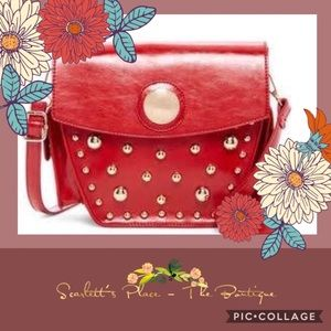 Pink Haley Red PU Leather Studded Crossbody Bag